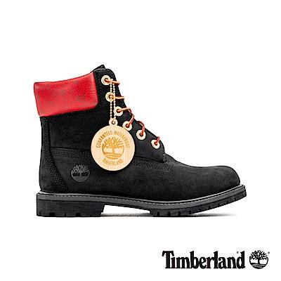 Timberland 女款黑色磨砂革圖騰紅領經典6吋靴|A243F