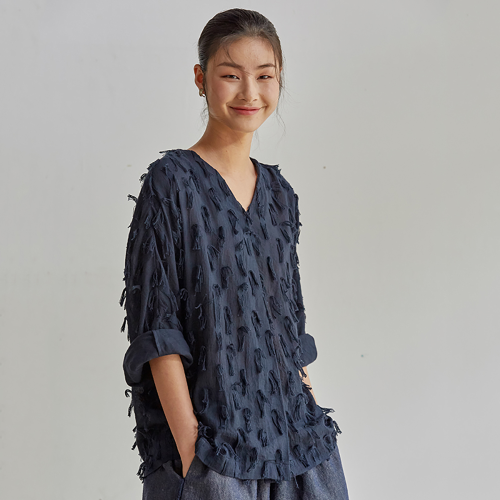 旅途原品_蒲公英_原創設計肌理面料寬鬆T恤-杏/藍