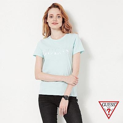 GUESS-女裝-純色LOGO壓印短T,T恤-藍 原價1290
