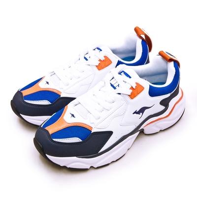 KangaROOS 美國袋鼠鞋 經典復古籃球鞋 SWING老爹鞋系列 白藍橘 01076