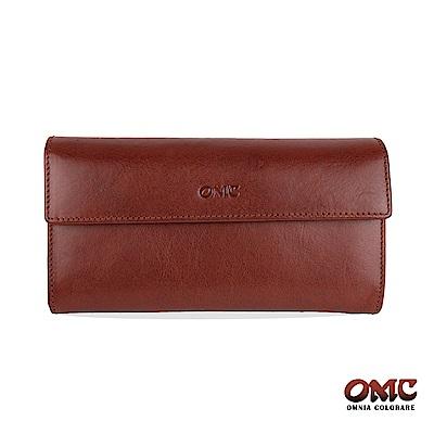 OMC 原皮系列-植鞣牛皮翻蓋壓扣多隔層零錢長夾-咖啡色