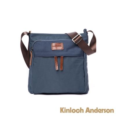 【金安德森】Natural Trend  原革皮標小型多格層方形側背包-藍色