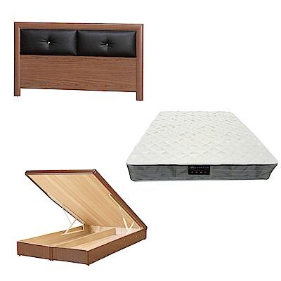 綠活居 盧戈6尺雙人加大床台三式組合(床頭片+後掀床底+抗菌防蹣獨立筒)五色可選