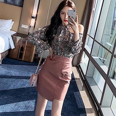 DABI 韓系露肩印花雪紡修身pu皮半裙套裝長袖裙裝