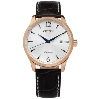 CITIZEN 限量款 機械錶 自動上鍊 小牛皮壓紋手錶-銀x玫瑰金框x深褐/40mm