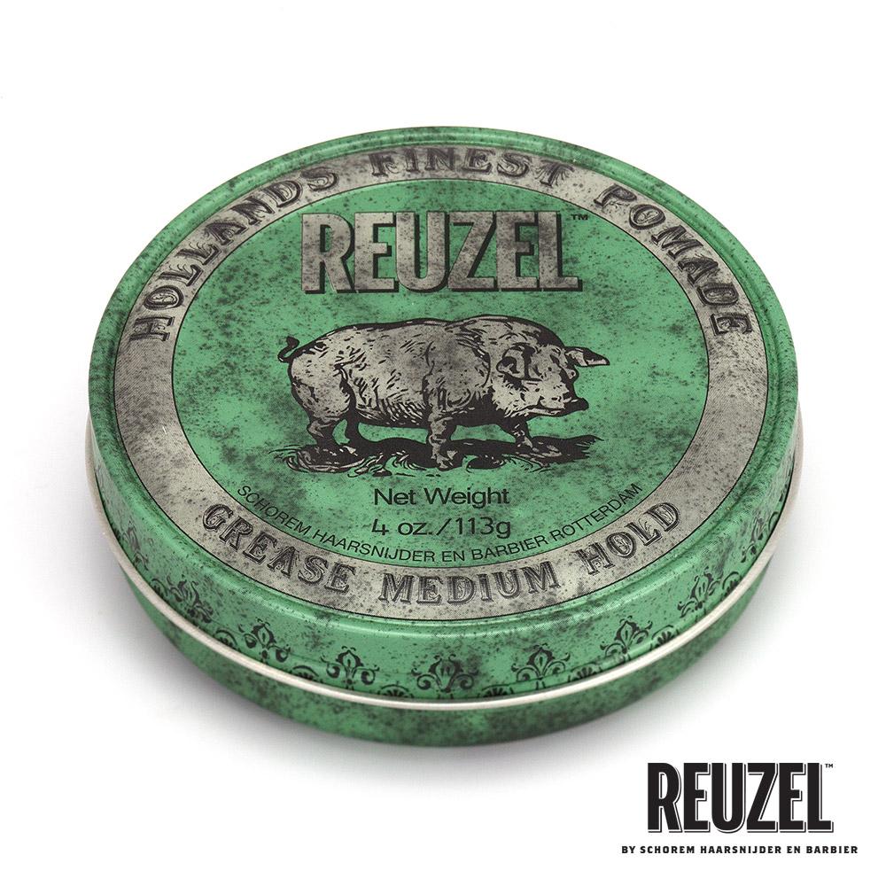 REUZEL Green Pomade Grease綠豬中強髮油113g