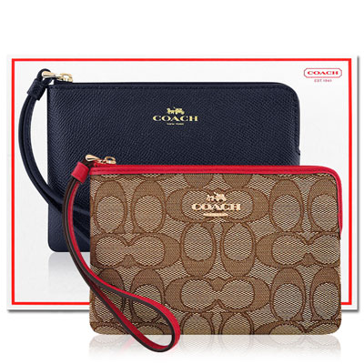 COACH 紅色大C織紋手拿包+COACH 星夜藍色防刮皮革手拿包