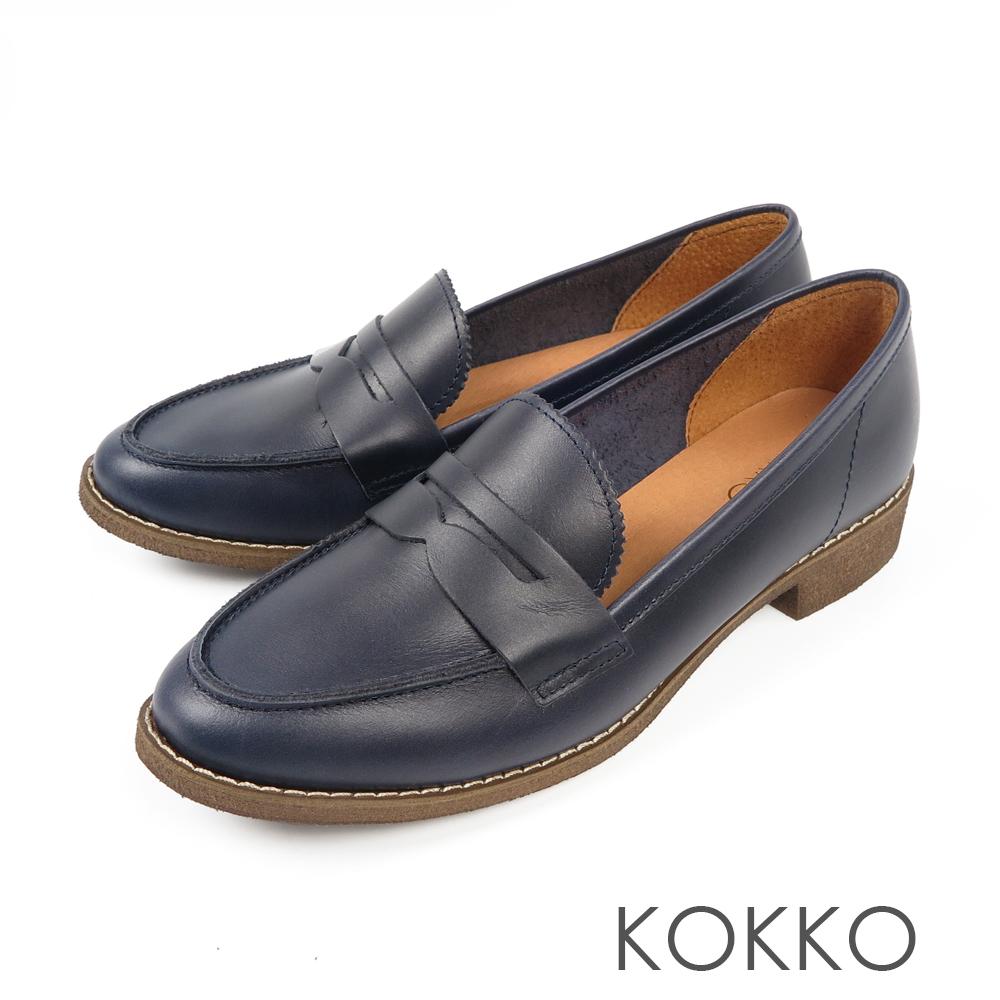 KOKKO -英倫學院牛皮樂福平底鞋 - 深海藍