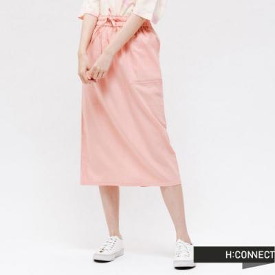H:CONNECT 韓國品牌 女裝 -後開衩綁帶棉麻長裙 - 粉