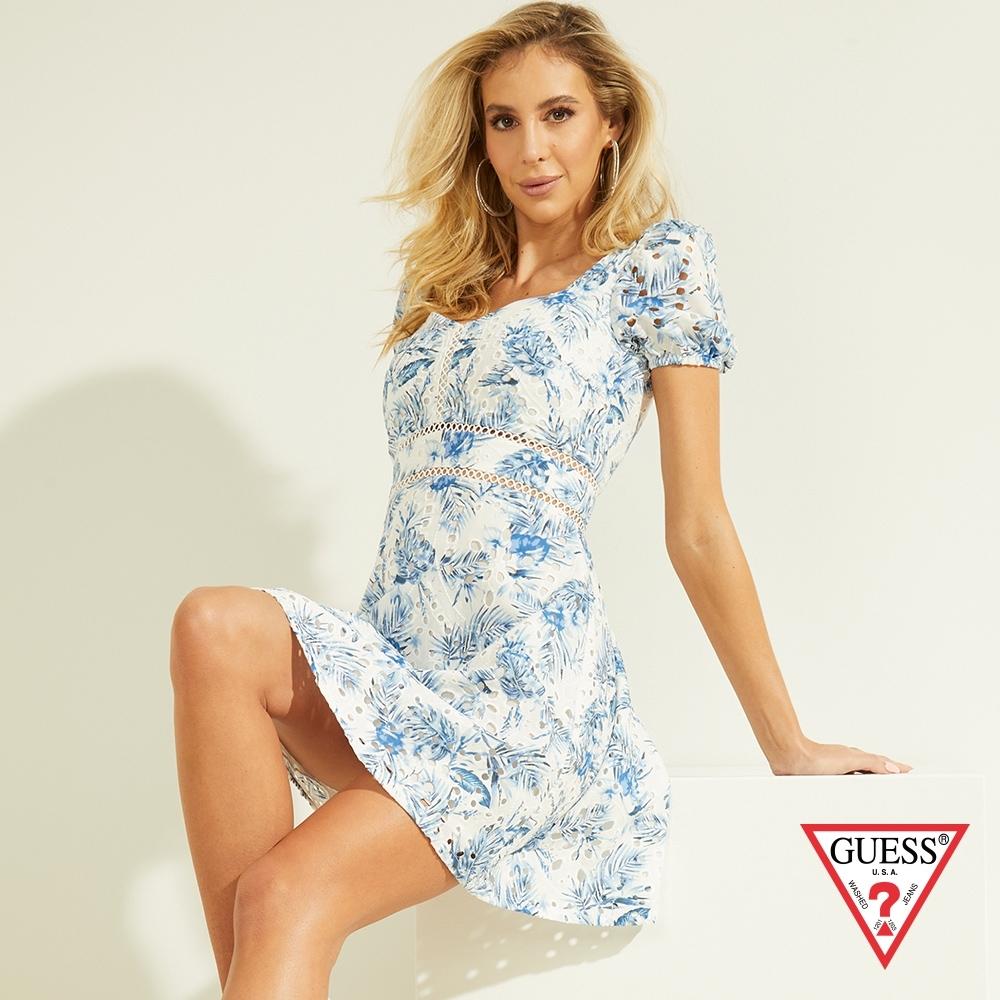 GUESS-女裝-氣質花卉印刷簍空蕾絲洋裝-藍 原價3290