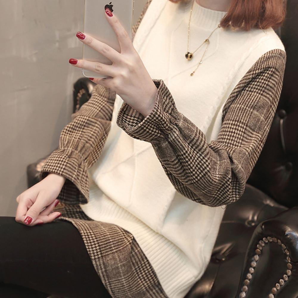 La Belleza假兩件圓領菱格包心紗針織下擺拼接咖啡色格紋上衣 product image 1