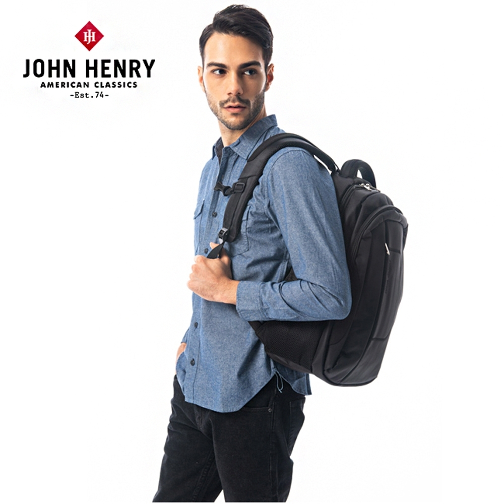 【JOHN HENRY】商務休閒電腦後背包-黑