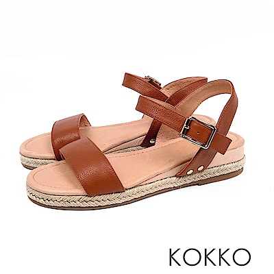 KOKKO - 淚光閃閃全真皮草編一字楔形涼鞋-飛沙棕