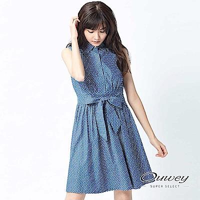 OUWEY歐薇 趣味幾何符號綁帶洋裝(藍)
