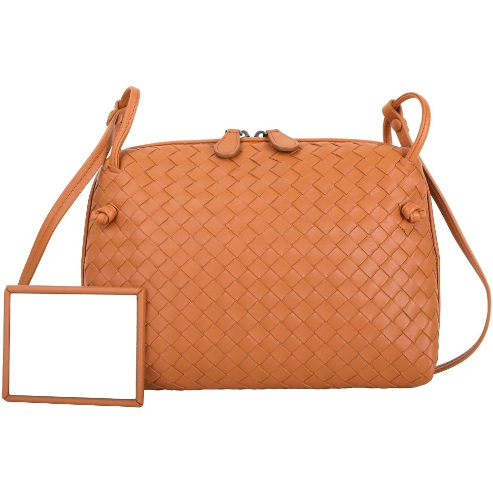BOTTEGA VENETA 小型 手工編織羊皮斜背包(橘色)
