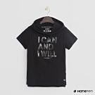 Hang Ten -女裝-ThermoContro-造型logo短袖連帽上衣-黑