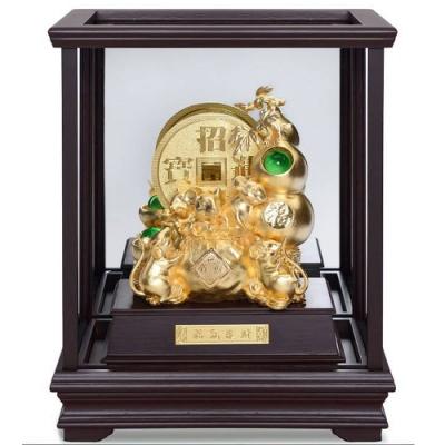 開運陶源 福鼠聚財金鼠 純金箔雕塑大櫥窗