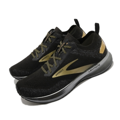Brooks 慢跑鞋 Levitate 4 Victory 男鞋 路跑 緩震 DNA科技 透氣 健身 球鞋 黑 金 1103451D054