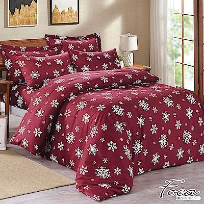 FOCA紅景之夜-雙人 MIT製造100%雪絨棉活性印染薄床包枕套三件組