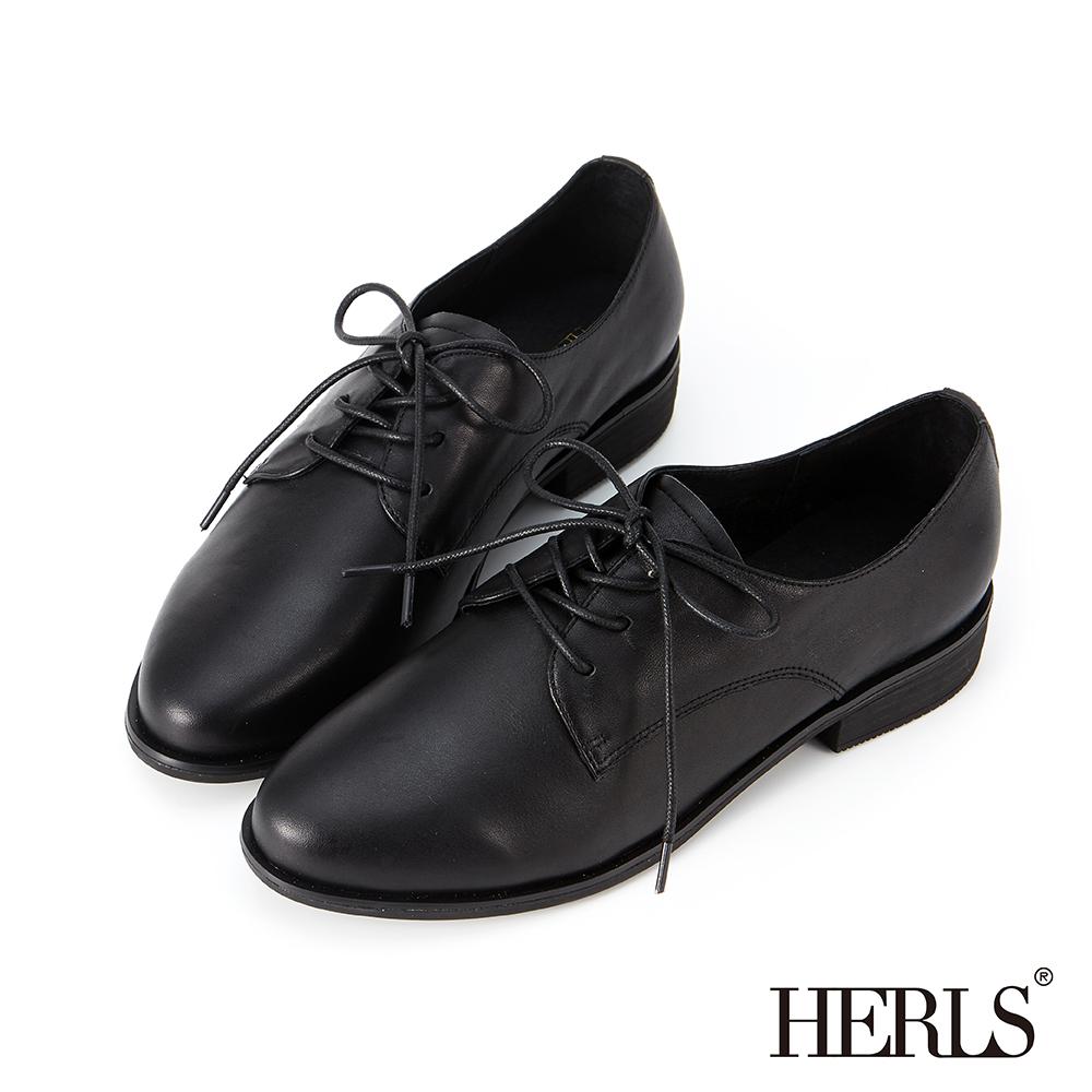 HERLS 經典再現 全真皮素面低跟牛津鞋-黑色 @ Y!購物