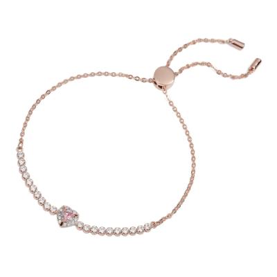 【福利品】SWAROVSKI 施華洛世奇 ONE璀璨粉色水晶愛心玫瑰金可調節手鍊手環