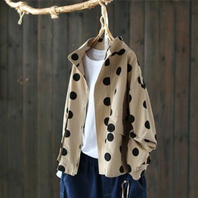 立領全棉波點外套上衣夾克-設計所在