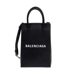 Balenciaga 新款Shopping Phone Holder 黑底白字Logo手提/肩背包
