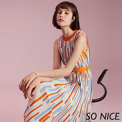 SO NICE優雅幾何印花壓褶雪紡洋裝