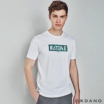 GIORDANO男裝Nature系列印花短袖T恤-41標誌白