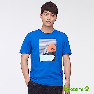 bossini男裝-印花短袖T恤40藍