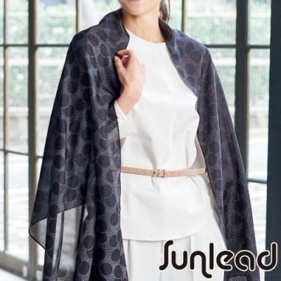 Sunlead 防曬寬版優雅圓點抗UV圍巾/披肩 (黑色)
