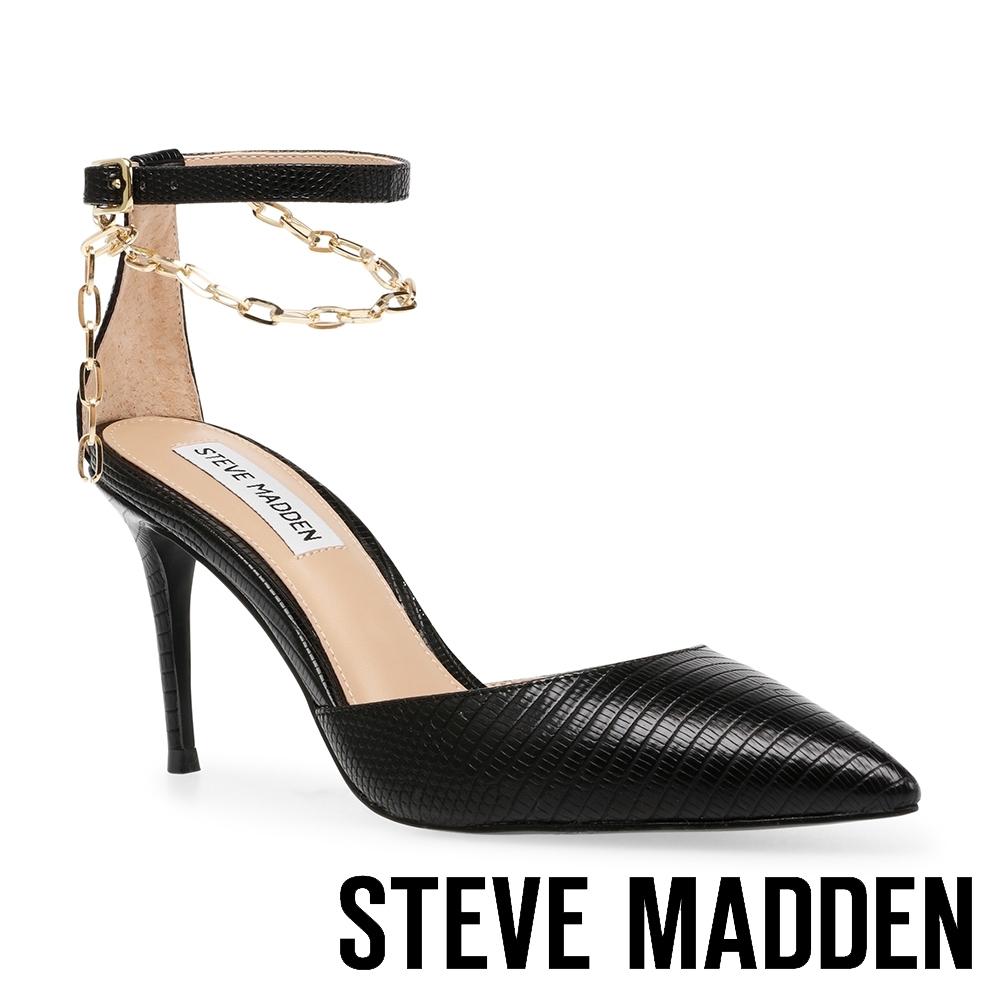 STEVE MADDEN-LIONESS 性感美背鍊條一字尖頭高跟涼鞋-黑色