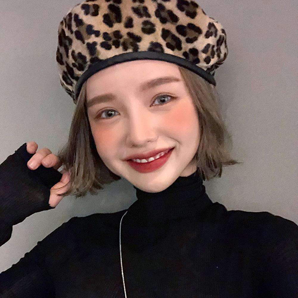 梨花HANA  豹紋皮革邊條時髦T台貝蕾帽