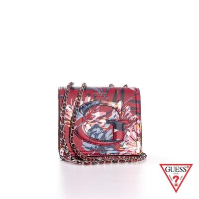 GUESS-女夾-浪漫印花雙鏈條肩背包-紅