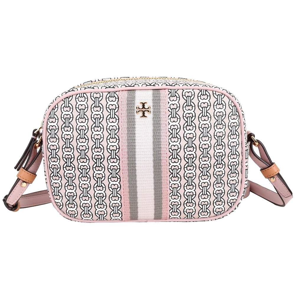 TORY BURCH GEMINI LINK 塗層帆布斜背相機包(粉色)