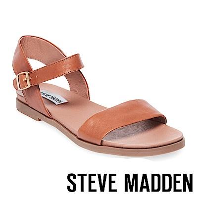 STEVE MADDEN-DINA真皮一字繫帶平底涼鞋-棕色