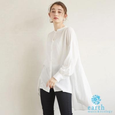 earth music 前短後長分層式長版襯衫上衣