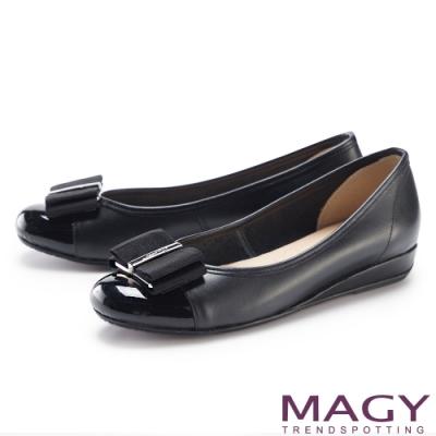 MAGY 飾釦織帶蝴蝶結真皮 女 平底鞋 黑色