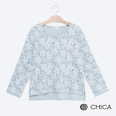 CHICA 日式甜美滿版扶桑花滾邊上衣(2色)