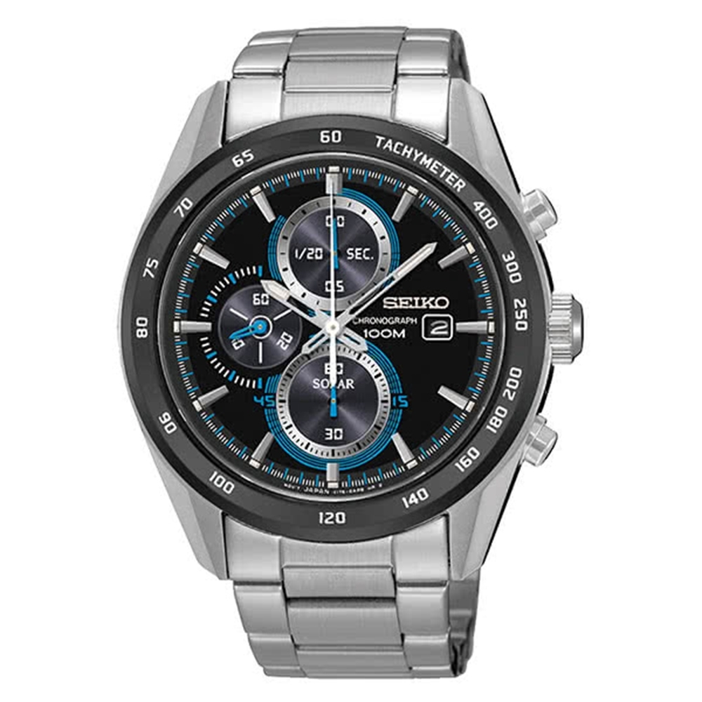 SEIKO 精工Criteria 三眼太陽能鋼帶腕錶-黑藍42mm(SSC401P1)