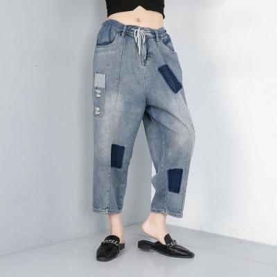 個性水洗拼接牛仔褲-F-CLORI