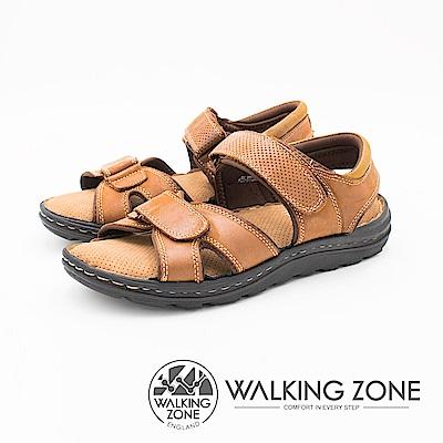 WALKING ZONE 可調式魔鬼氈透氣軟墊 男涼鞋-棕綠(另有深藍)