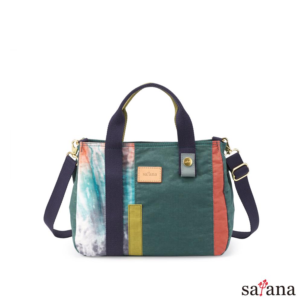 satana - Soldier 質感紋理拼接手提包 - 混色