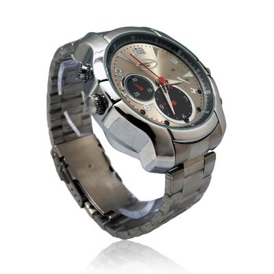 【CHICHIAU】1080P偽裝防水金屬帶手錶Q6-夜視8G微型攝影機