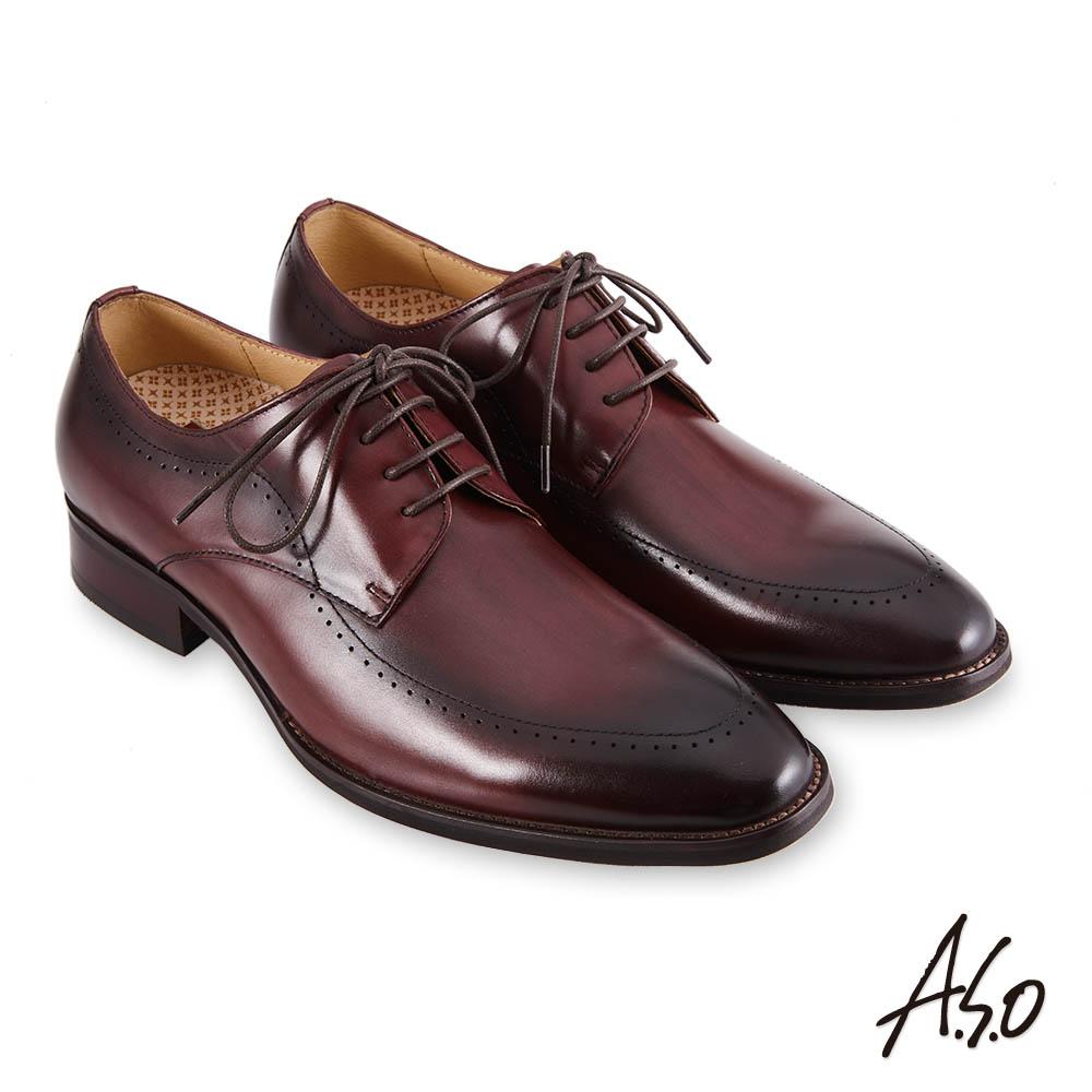 A.S.O職場通勤 零壓挺力刷色工藝德比紳士鞋-咖啡