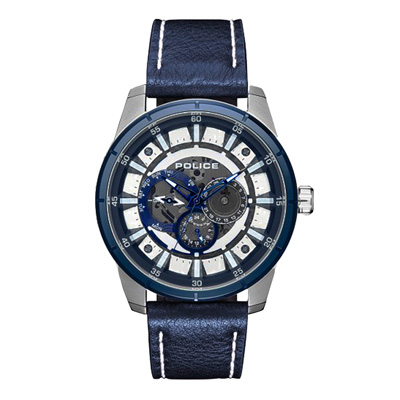 POLICE 潮流光速多功能腕錶-鋼色x藍色(15410JSTBL-04)-47mm