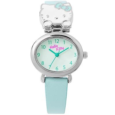 HELLO KITTY 可愛立體貓頭手錶 淺綠/27mm