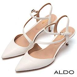 ALDO 原色幾何線條鏤空繫帶尖頭細跟涼鞋~氣質白色