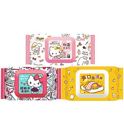 Hello Kitty 三麗鷗家族30抽有蓋柔濕巾俏麗組 Hello Kitty 純水款+Hello Kitty 抑菌款+蛋黃哥手口款 共 36 包 (箱購) 加蓋濕紙巾一次購足 限量發行