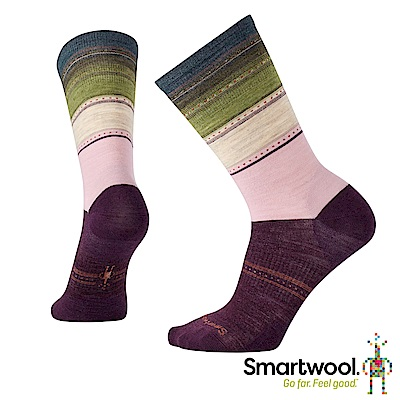 SmartWool 女蘇拉威西條紋中長襪  霧紫